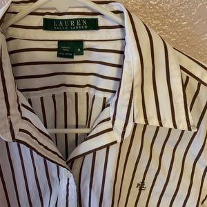 Women's Ralph Lauren Striped Brown/White Shirt
